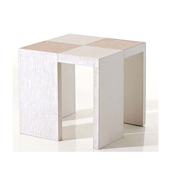 Stolik obity skórą wegańską Table Side White