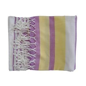 Fioletowo-żółty ręcznie tkany ręcznik z bawełny premium Rio,100x180 cm