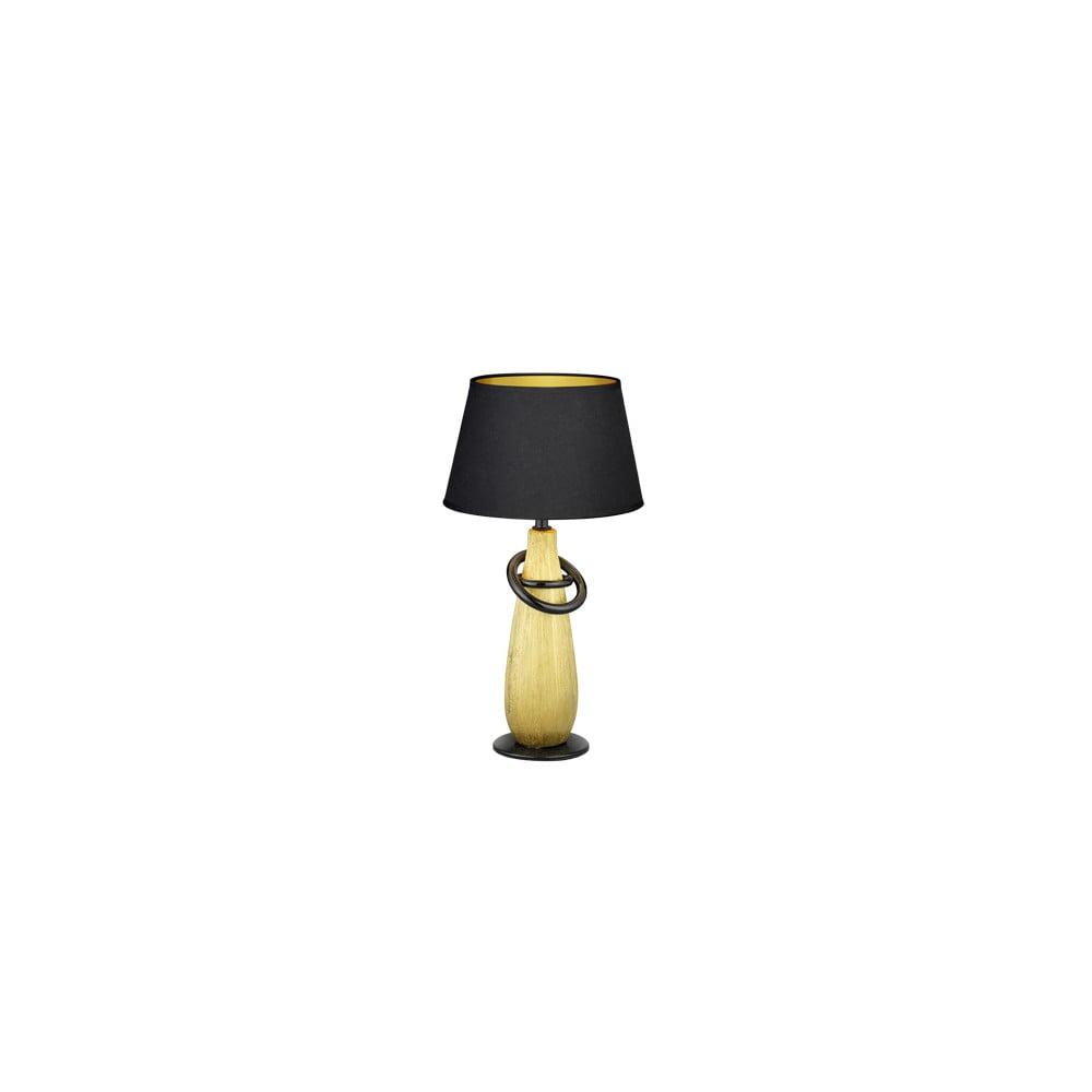 Czarna lampa stołowa z ceramiki i tkaniny Trio Thebes, wys. 38 cm