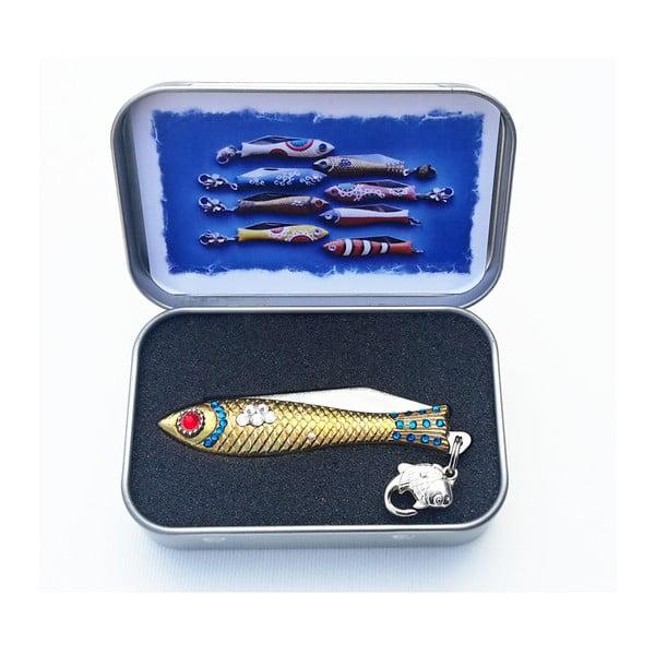 Scyzoryk rybka, świąteczny z kryształkami, w blaszanym pudełku