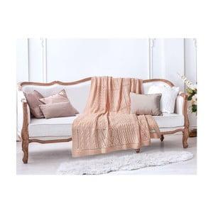 Łososiowy koc bawełniany Crochet, 130x170 cm