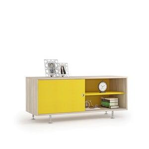 Komoda pod TV z dekorem drewna wiązu i żółtymi drzwiczkami Terraneo