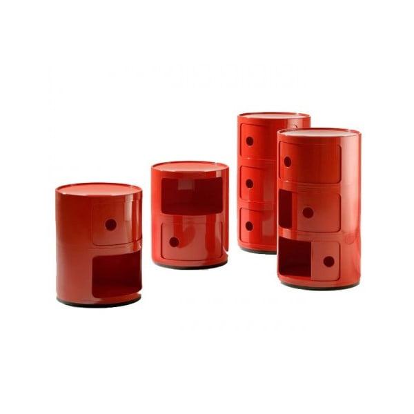 Czerwona szafka z 2 szufladami Kartell Componibili