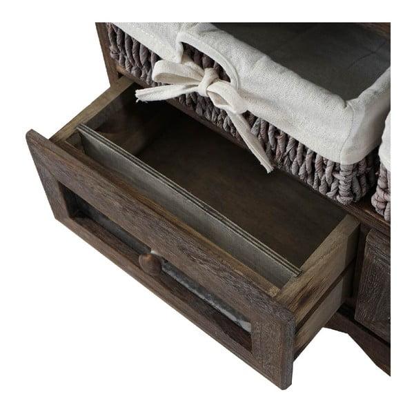 Brązowa ławka drewniana ze schowkiem Dia
