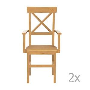 Zestaw 2 krzeseł z drewna sosnowego z područkami Støraa Nicoline