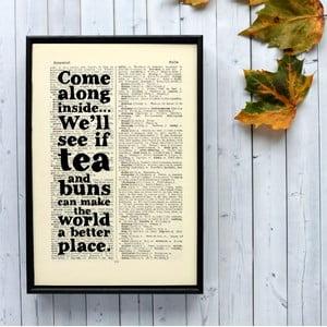 Plakat w   drewnianej ramie Tea and Buns