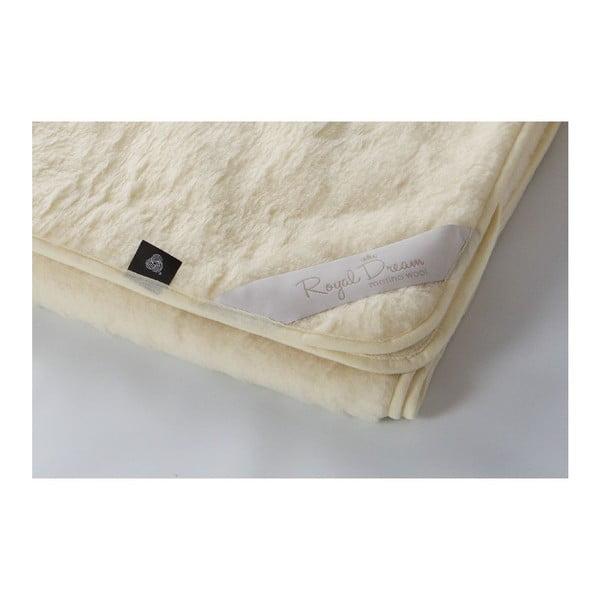 Beżowykoc wełniany Royal Dream Merino, 220x200 cm