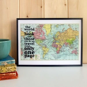 Plakat w drewnianej ramie World Is A Book Map Print