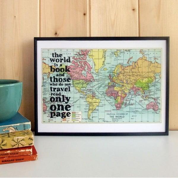 Plakat w drewnianej ramie World Is A Book Map Print