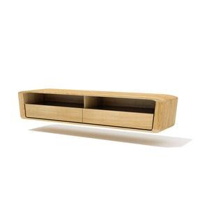 Półka ścienna pod TV z litego drewna dębowego Javorina Ultra
