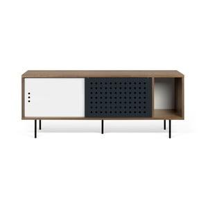Szafka pod TV w kolorze orzecha z czarno-białymi elementami TemaHome Dann Dots, dł. 165cm