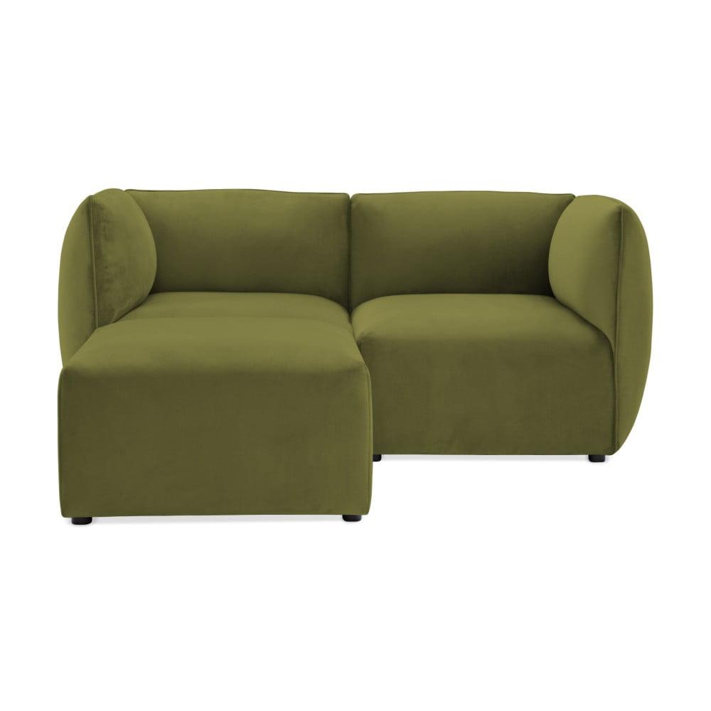 Oliwkowa 2-osobowa sofa modułowa z podnóżkiem Vivonita Velvet Cube