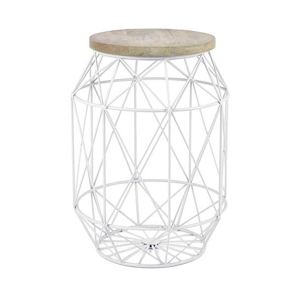 Biały stolik z blatem z drewna mangowca HF Living Dome