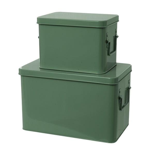 Komplet 2 pudełek Present Time Metal Green