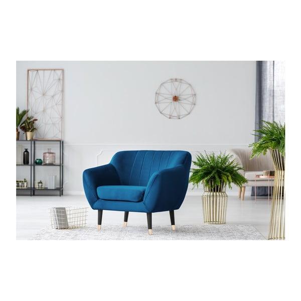 Niebieski fotel z czarnymi nogami Mazzini Sofas Benito
