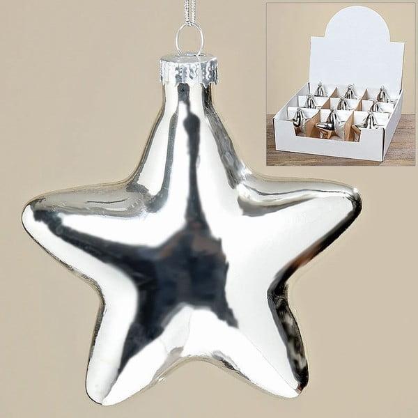 Zestaw 9 wiszących dekoracji Silver Star