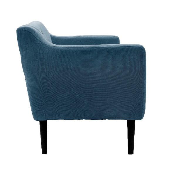 Sofa trzyosobowa VIVONITA Kelly Marine Blue, czarne nogi