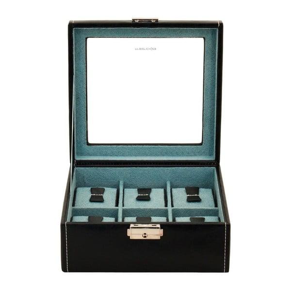 Czarny kuferek na 6 zegarków Friedrich Lederwaren Bond