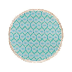 Turkusowy ręcznik hammam Begonville Ripple, ᴓ150cm