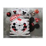 Bawełniana pościel dwuosobowa z prześcieradłem Mickey & Minnie Amour, 200x220 cm