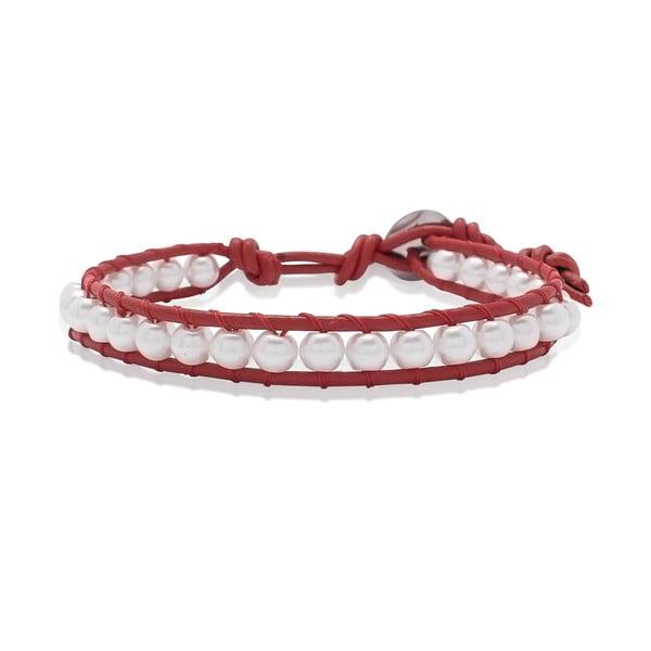 Czerwona bransoletka ze skóry z perłami Lucie & Jade