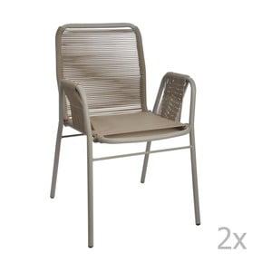 Zestaw 2 szaro-beżowych krzeseł J-Line Elast